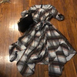 Eva Franco Dresses - EVA FRANCO Pretty in Plaid Mock Wrap Dress